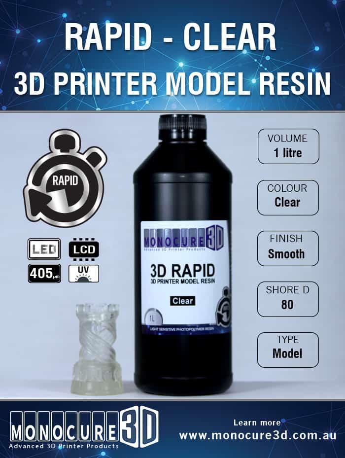 3D RAPID RESIN - CLEAR (1 Ltr)